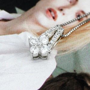 フラワー 花 ダイヤモンド ネックレス ゴールド ペンダント ダイヤペンダント 18金 K18 ホワイトゴールド K18WG【送料無料】