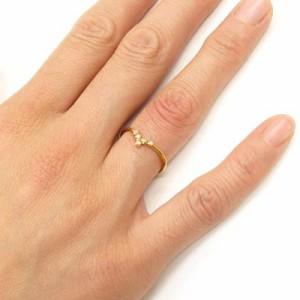 シンプル スレンダー V字 ダイヤモンドリング ダイヤリング イエローゴールド K18YG 指輪 【送料無料】