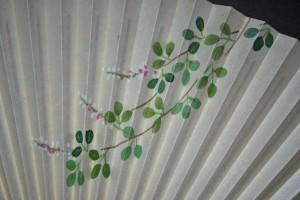 京風庵大むら 婦人用手描き高級和紙扇子 月に萩