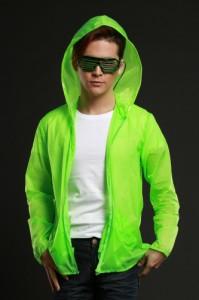 ■送料無料■ELEX光るパーカー緑(イエローグリーン) 蛍光色  Mens・男性用サイズ【お取り寄せ】