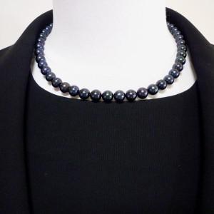 送料無料 葬儀用 アコヤ黒真珠 ネックレス イヤリング(ピアス) 2点セット 8.0-8.5mm 42cm