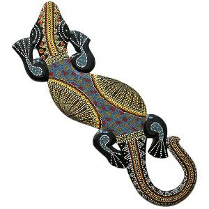 壁掛けトカゲ 約120cm 太目 カラフル ドットペイント N エスニック バリ アジアン アジアン雑貨