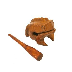 アジアの楽器 天然木 チークのゲコゲコかえる モーコック 6個セット ブラウン エスニック バリ アジアン アジアン雑貨