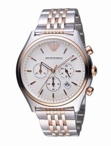 エンポリオアルマーニ EMPORIO ARMANI 腕時計 シルバー&ローズゴールド メンズ AR1998 ステンレス  並行輸入品 送料無料
