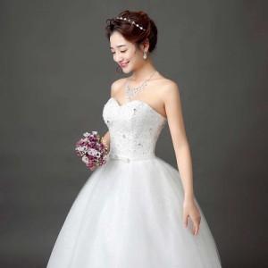 花嫁 ブライド ドレス 新品 高級 ウエディングドレス 韓国風 ロングドレス結婚式 披露宴 二次会 パーティー エンパイアドレス