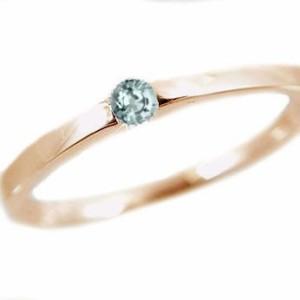 アクアマリン リング イエローゴールドk18 ピンキーリング k18 指輪 3月誕生石