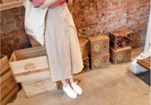 ◆送料無料◆ウエストゴム ガーリー フェミニン ポケット ロング ラップスカート ミモレ丈 無地 ボトムズスカート 春夏秋 mnss1222