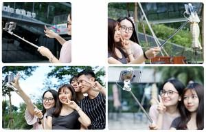 セルカ棒 超ミニ14cm ミラー付き 一脚 有線自撮り棒  スマホ iPhone Android対応 シャッター付 ミニ【A961】【メール便不可】