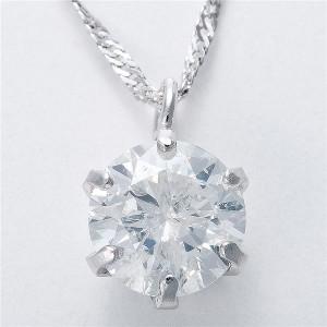 純プラチナ 0.5ctダイヤモンドペンダント/ネックレス スクリューチェーン 日本製 天然石