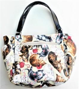 秋の新作 【送料無料】usaコットンの 猫柄トートバッグ マウスキャット 多収納 多機能 猫 グッズ 雑貨