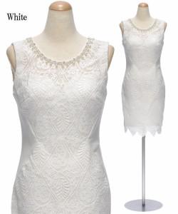DIOH【ディオ】幾何学模様レース ノースリーブワンピースドレス[送料無料 キャバドレス タイト 大きいサイズ ミニ]