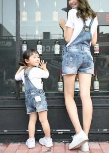夏オソロ服レディースオーバーオール女の子男の子キッズ親子デニムサロペット デニムショートパンツ ロンパース ママと娘お揃いつなぎ