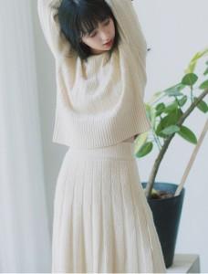 ニットワンピース セットアップ ニット スカート 膝丈 ツーピース ミモレ丈 柄編み 長袖
