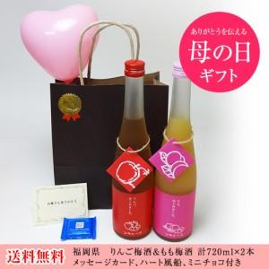 母の日セット 果物梅酒2本セット りんご梅酒 もも梅酒 (福岡県)合計720ml×2本 メッセージカード ハート風船 ミニ