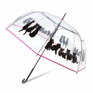 ビニール傘 かわいい 傘 レディース ドーム型 猫柄
