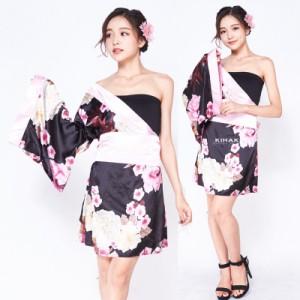 あす楽 肩魅せられ  着物ドレス  コスプレ 衣装 セット レディース  花魁 おいらん コスチューム 浴衣 ゆかた 花柄 ワンピース