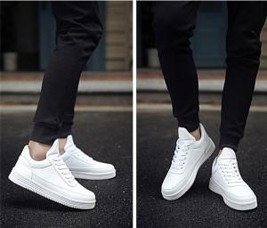 【8cm身長UP】スニーカーメンズカジュアルシューズシークレットシューズ男の子靴秋冬通気性インヒールシューズ3色ホワイト