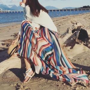 鮮やか 虹色 綺麗 マルチカラー シフォン ロングスカート マキシ スカート