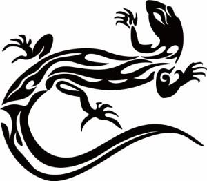 カッティングステッカー 車 バイク カッコイイ オシャレ 目立つ カスタム カー【トカゲ(蜥蜴) トライバル ・10(左向き)】【メール便】