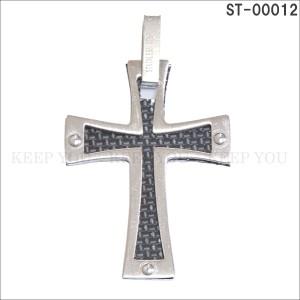 メール便 送料無料 ステンレス ネックレス ペンダント トップ コンビ クロス 十字架 CROSS ST-00012 チャーム ユニセックス アクセ =┃