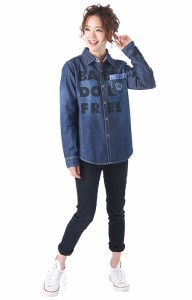 NEW♪親子ペア★FREEデニムシャツ-大人 男女兼用 襟付き レディース メンズ ベビードール 子供服-9401A