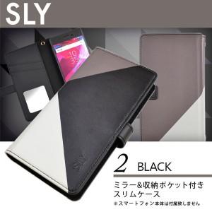 全機種対応 マルチ ケース 手帳型 ブランド SLY スライ COLOR TRIANGLE 内側ミラー iPhone Xperia Galaxy