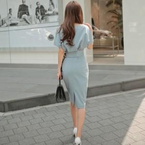 パーティー気質よいファッション綺麗なデザイン夏新しいOL通勤ワンピース人気満点なVネック半袖セットアップワンピース