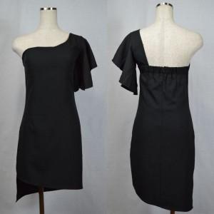 キャバドレス 77B 黒 ブラック ワンショルダー フレアスリーブ ミニ ドレス ミニワンピ ナイト パーティー セクシー 送料無料