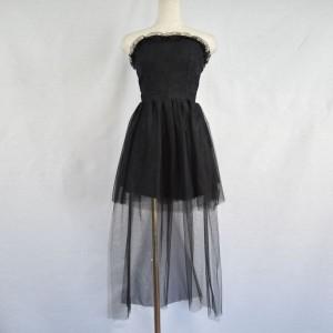 キャバドレス 97B 黒 ブラック ミニ ドレス Aライン オフショルダー チューブトップ レース シースルー ナイト パーティー 送料無料