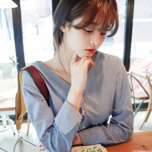 韓国 気質 OL  Vネック 薄い 緩い カジュアルシャツ