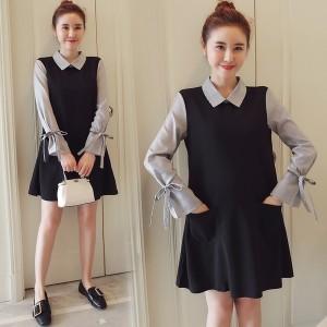 マタニティ 秋 ファッション 長袖 シャツ ドレス