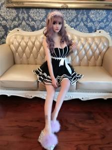 大特価!2590円!Cuteな胸元リボンデザイン 裾レースフレアーミニドレス 全2色(黒白) mier mistre mifure