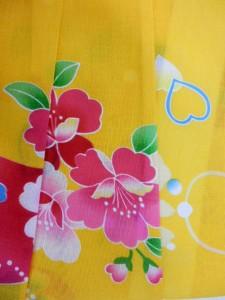 子供用 3〜4歳 女子用 子供浴衣  黄色地 ハート 花柄 No2957