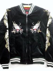 スカジャン 鷹龍 日本製本格刺繍のスカジャン3L