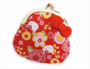 和×ハローキティちゃんコラボ 和柄がま口財布サイフ・小銭入れ赤色地菊梅小花