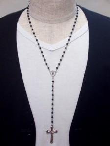 ロザリオネックレス・メール便(ゆうパケット)送料無料・ターコイズ・ユニセックス・オニキス・十字架・V系・バンギャ・キリスト・M-800