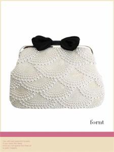 【Tika ティカ】3way総パールデザインリボン付きミニハンドバッグ
