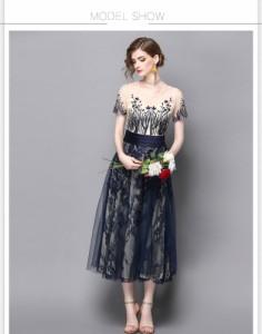 パーティードレスお呼ばれ結婚式二次会 上品な大人のロングドレス花柄レースワンピース大きいサイズ有[S/M/L/2L][紺]