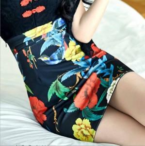 ★S〜3L★パーティードレス キャバドレス 水商売 セクシー ミニ丈 花柄レース切替刺繍 ドレス ワンピース