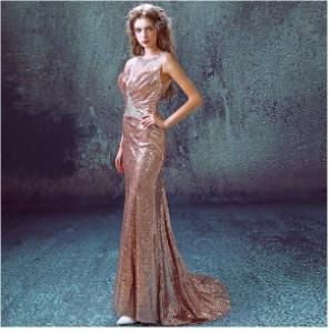 17新作 高級感パーティードレスマーメイドラインストーンスパンコール結婚式エレガントトレーンロングドレス結婚式 披露宴 二次会演出服