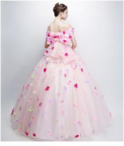 人気新作 オフショルダー 花飾り ロングドレス パーティードレス エレガント チュールスカート 花嫁 ウエディングドレス 編み上げ