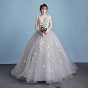 ロングドレス パーティードレス ウェディングドレス チュールスカート 結婚式 演奏会 発表会 フォーマル 二次会 ドレス 編み上げ