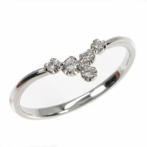 シンプル スレンダー V字 ダイヤモンドリング ダイヤリング ホワイトゴールド K18WG 指輪 【送料無料】