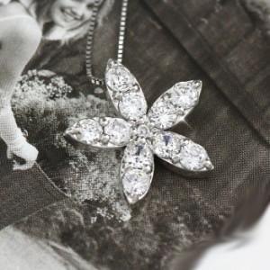 フラワー モチーフ ネックレス ダイヤモンド ゴールド マーキス ペンダント 18金 K18 ホワイトゴールド K18WG 1.00ct【送料無料】