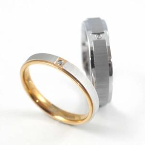 ペアリング2本セット ステンレスリング EVE(イヴ)マットラインダイヤモンドリング 指輪