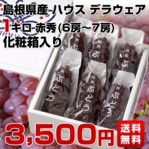 送料無料 島根県より産地直送 ハウス デラウェア  赤秀 Lから2Lサイズ (6房から7房) 1キロ化粧箱入り