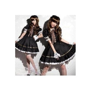 メイド 衣装 かぼちゃパンツ 白付き 8点セット コスチューム ブラック レディース XLサイズ