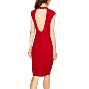レディース セクシー ノースリーブ スタンドカラー バックレス ドレス ワンピース ミニ ボディコン 赤