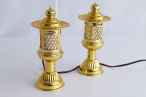 希少 神棚用 ■ 菊型灯籠 黄金 一対 ■ 電装コード式 高さ(約cm)20