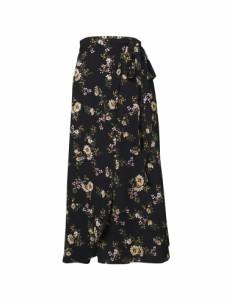 レトロ花柄巻きスカート レディース ラップ パレオ風 フラワー ロング ウエストリボン レイヤード